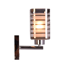 Load image into Gallery viewer, Chrome Wall Light with Silver Lines Glass Shade, E27