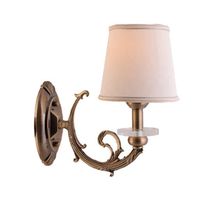 Antique Gold Wall Lamp with Fabric Shade