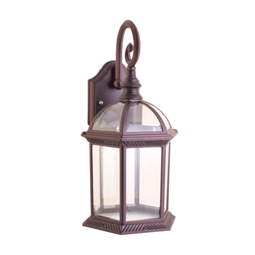 One-Light Outdoor Wall Lantern with Clear Glass, Brown-Starry Night