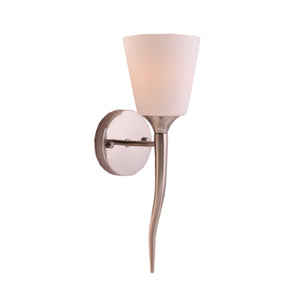 Designer Wall Lamp with White Glass Shade Brushed Steel