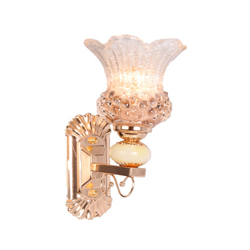 Golden Decorative Wall Light with Glass Shade, E14