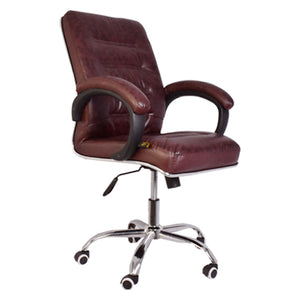 Starry Night Classic Leather-Padded Mid-Back Office Chair with Armrest - Brown