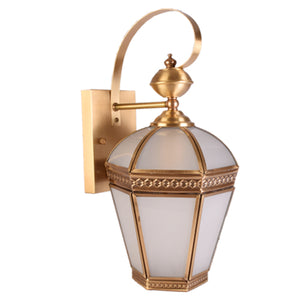 Outdoor Wall Light Copper with Frosted Glass Shade, E27