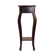 Load image into Gallery viewer, Wood Pedestal End Table Curved Legs with Drawer & Shelf, Cherry-Starry Night