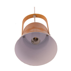 Metal Pendant Light E27 Base Gold with Wood Handle