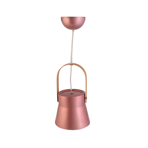 Metal Pendant Light E27 Base Rose Gold with Wood Handle