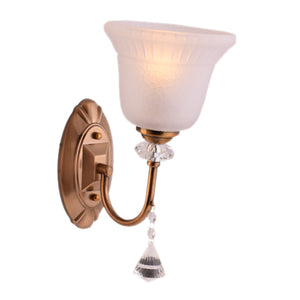 Brown Wall Light with White Glass Shade