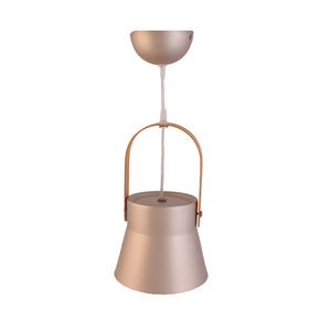 Metal Pendant Light E27 Base Luxury Gold with Wood Handle