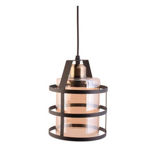 Pendant Light Metal Cage with Glass Shade