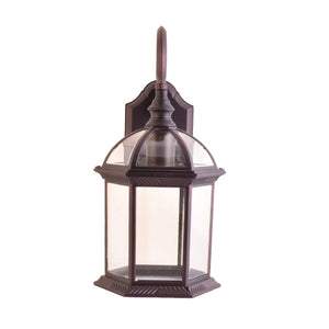 One-Light Outdoor Wall Lantern with Clear Glass, Brown