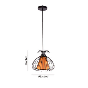 Black Cage Pendant Light with Gold Shade E27 Holder