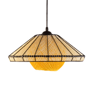 Decorative Pendant Light E27 Holder, Black & Yellow