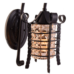 Lantern Wall Light with Gold & Crystals E14 Holder