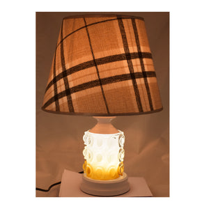 White Table Lamp with Checkered Shade