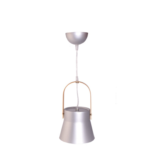 Metal Pendant Light E27 Base Silver with Wood Handle
