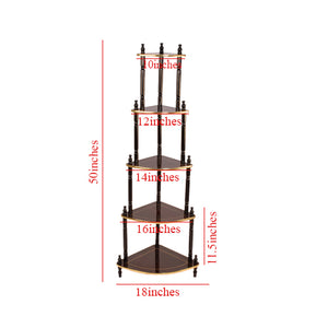 5-Tier Corner Stand, Cherry with Gold