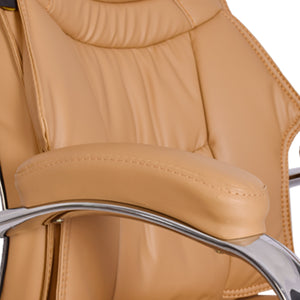 High-Back Light Brown Executive Office Chair with Armrest