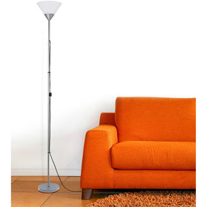 1 Light Torchiere Floor Lamp, Silver