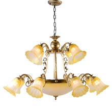Load image into Gallery viewer, Bronze Chandelier with Yellow Glass, 12 Arms