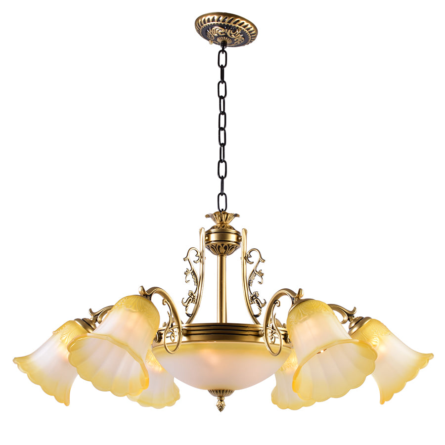 Bronze Chandelier with Yellow Glass, 6 Arms
