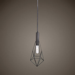 Geometric Pendant Light 1 E27 Bulb, Black