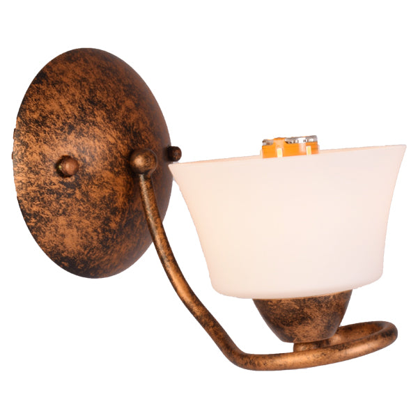Wall Light Rustic Colour with White Glass Shade, E14