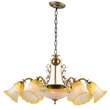 Load image into Gallery viewer, Bronze Chandelier with Yellow Glass, 6 Arms