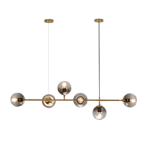 Modern Ceiling Pendant Chandelier Golden 6 Light Globe Glass Hanging Light for Dining Room
