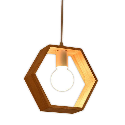Hexagon Wood Pendant Light