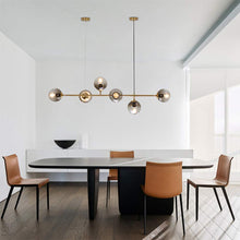 Load image into Gallery viewer, Modern Ceiling Pendant Chandelier Golden 6 Light Globe Glass Hanging Light for Dining Room