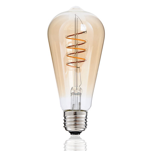 Spiral LED Filament Bulb ST64 Gold Tinted Glass 4 watt