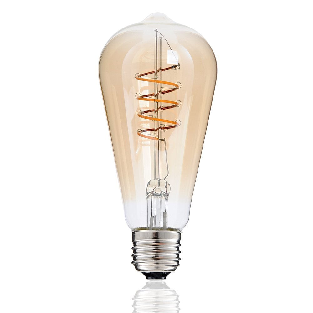 Spiral LED Filament Bulb ST64 Gold Tinted Glass 4 watt-Starry Night