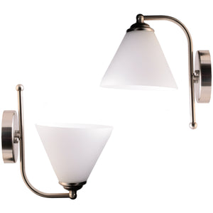 Wall Light Brushed Metal with White Glass Shade