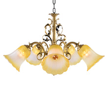 Load image into Gallery viewer, Bronze Chandelier with Yellow Glass, 5 Arms