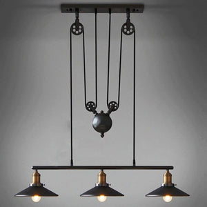 Retro Pendant Retractable Chandelier Light Adjustable Lamp 3 Head