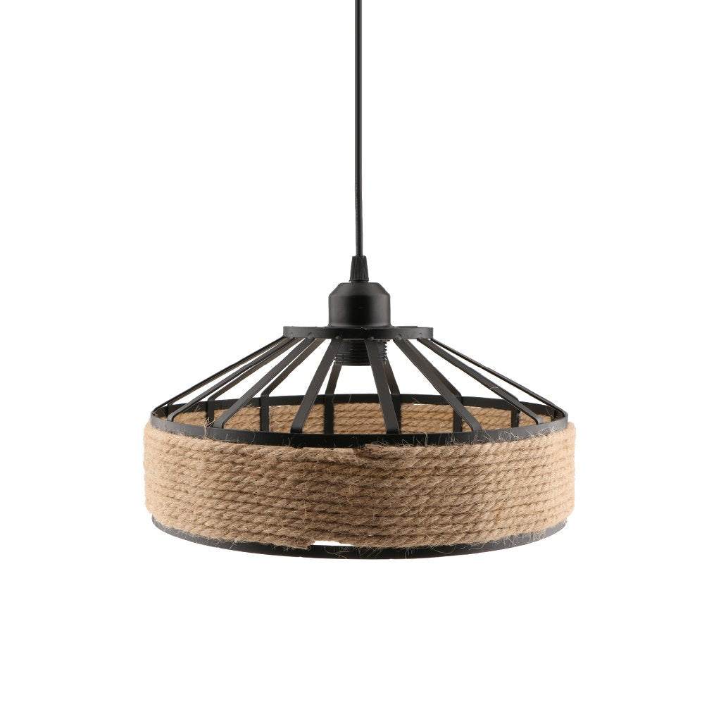 E27 Base Manila Rope Twined Pendant Lampshade Frame Iron Wire Ceiling Chandelier Hanging Lightshade
