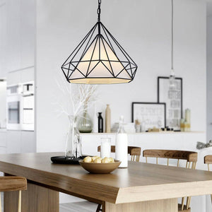 Diamond Shape Black Pendant Light with White Shade