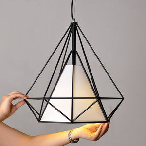 Diamond Shape Black Pendant Light with White Shade-Starry Night