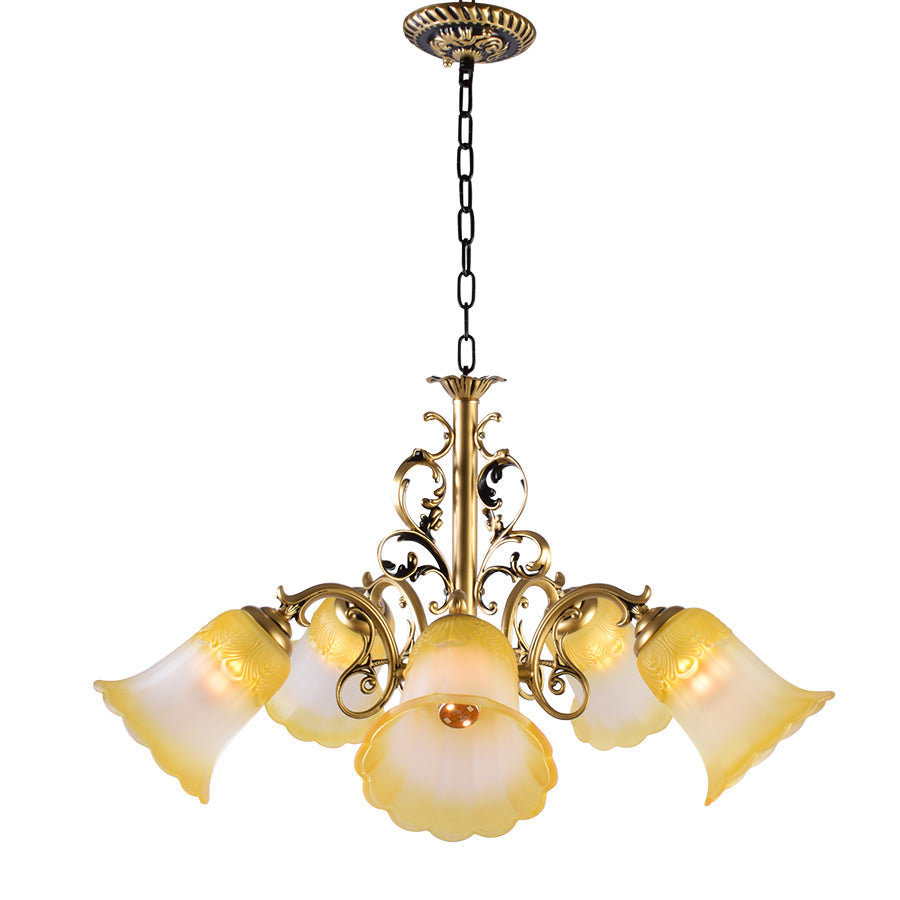 Bronze Chandelier with Yellow Glass, 5 Arms