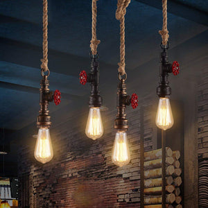 Vintage Hemp Rope E27 Pendant Light - Black