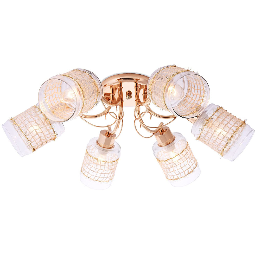 Gold 6 Arm Ceiling Light with Beautiful Glass Shades-Starry Night