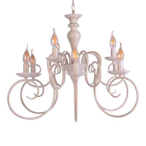 Elegant White Chandelier 9 Light-Starry Night