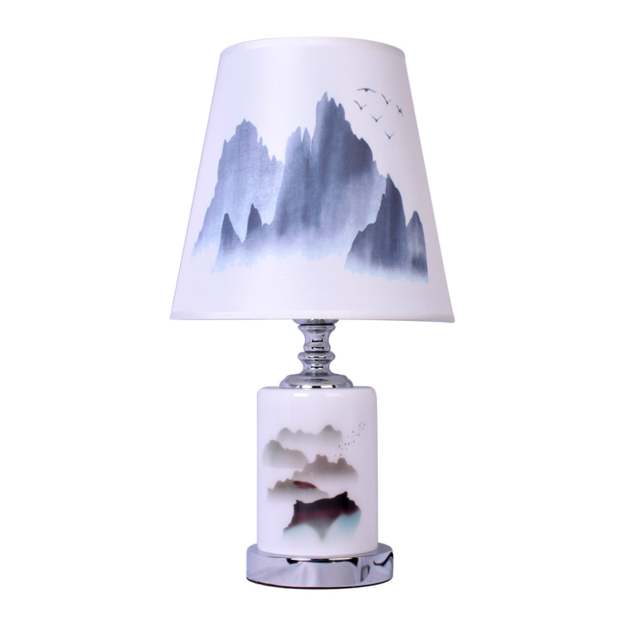 Round Table Lamp With Mountain Print-Starry Night