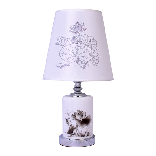 Round Table Lamp With Flower Print-Starry Night