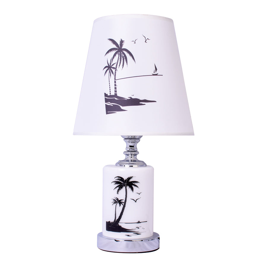 Round Table Lamp With Beach Print-Starry Night