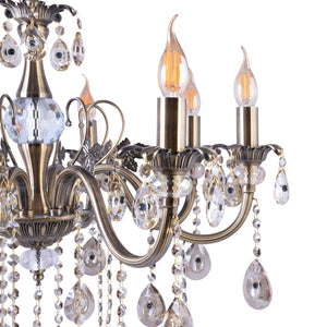 Silver Chandelier With Crystals - 8 Lights-Starry Night