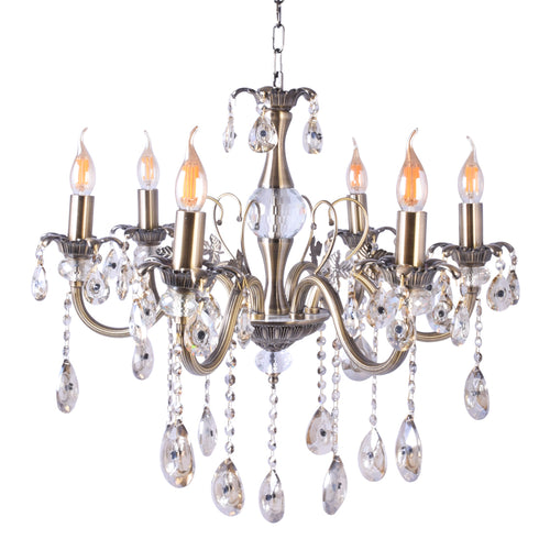 Silver Chandelier With Crystals - 6 Lights-Starry Night