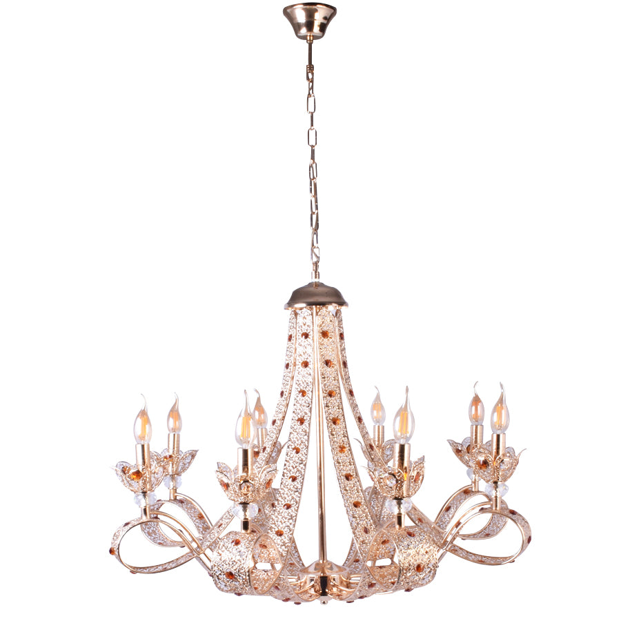 Gold Chandelier With Orange Crystals - 8 Lights-Starry Night