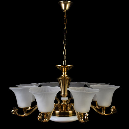Bronze Chandelier With White Glass - 8 Lights-Starry Night