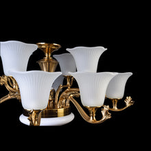 Load image into Gallery viewer, Bronze Chandelier With White Glass - 12 Lights-Starry Night